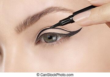 Hermoso modelo aplicando el primer plano de los ojos