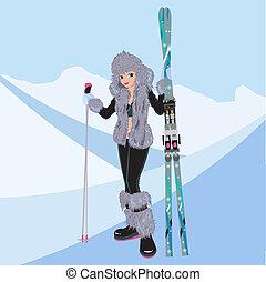 hermoso, niña, esquí alpino
