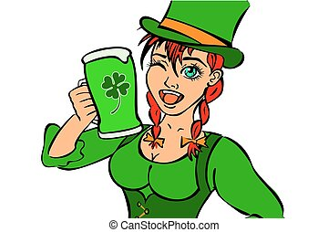 hermoso, niña, leprechaun, cerveza inglesa