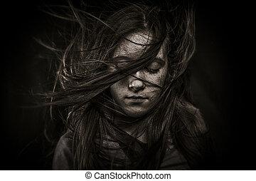 hermoso, niña, pelo, largo, revelado