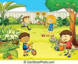 hermoso, niños, juego, naturaleza