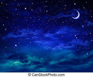 hermoso, nightly, plano de fondo, cielo