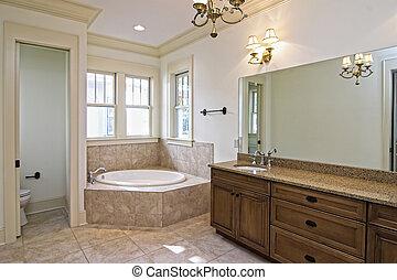 hermoso, nuevo, cuarto de baño, construcción