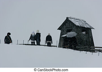 Hermoso paisaje invernal en el sur de Corea Daegwallyeong rancho de ovejas
