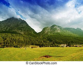 hermoso, paisaje., montañas, praderas, cielo, dolimites