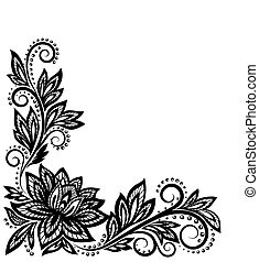 Hermoso patrón floral, un elemento de diseño a la antigua.