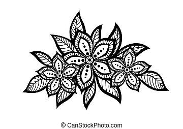 Hermoso patrón floral, un elemento de diseño al estilo antiguo.