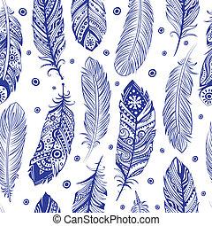 hermoso, patrón, pluma, seamless