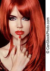 hermoso, peinado, woman., belleza, sano, lips., hair., largo, girl., nail., polaco, sexy, modelo, rojo