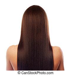 hermoso, pelo, largo