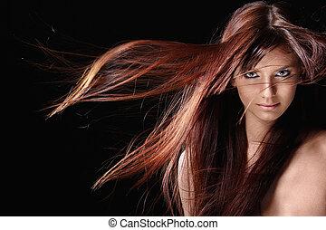 hermoso, pelo, niña, rojo