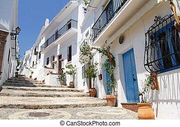 hermoso, pintoresco, uno, andalucía, blanco, frigiliana-, pueblos, españa