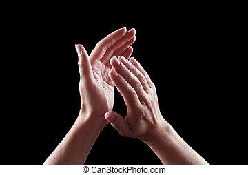 hermoso, plano de fondo, aislado, hembra negra, manos, aplauso