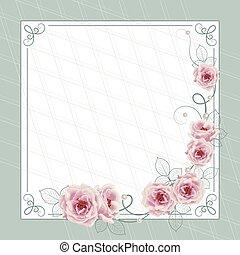 hermoso, plano de fondo, azul, tarjeta, o, rosas, invitación, cuadrado, saludo, diseño, marco
