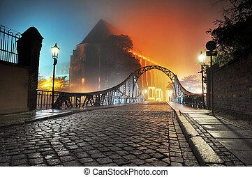 hermoso, pueblo, puente viejo, noche, vista