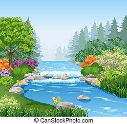 Hermoso río montañoso en el bosque
