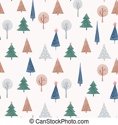 hermoso, resumen, bosque, acuarela, acción, árboles., seamless, illustration., patrón, lindo