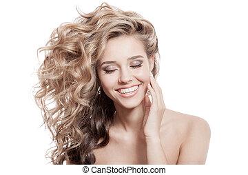 hermoso, rizado, sano, pelo largo, sonriente, woman.