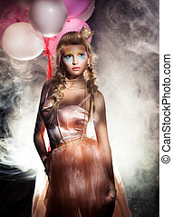 hermoso, rosa, dorado, neblina, crown., vestido, princesa