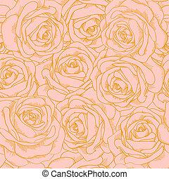 hermoso, rosa, estilo, contorno, oro, vendimia, seamless, rosas, plano de fondo