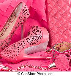 hermoso, rosa, zapato
