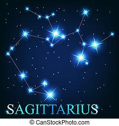 hermoso, sagitario, cielo, estrellas, cósmico, señal, brillante, vector, plano de fondo, zodíaco