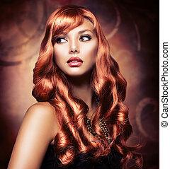hermoso, sano, pelo largo, niña, rojo