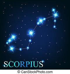 hermoso, scorpius, estrellas, cielo, cósmico, señal, brillante, vector, plano de fondo, zodíaco