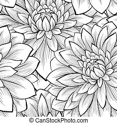 hermoso, seamless, fondo negro, monocromo, flores blancas