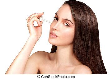 hermoso, ser aplicable, tratamiento cosmético, piel, modelo, suero