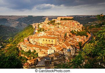 hermoso, sicilia, aldea, ragusa, ocaso, vista