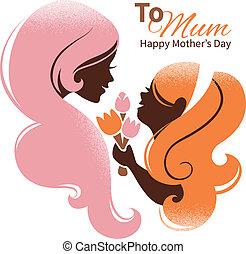 hermoso, silueta, ella, madre, day., madre, hija, flores, tarjeta, feliz
