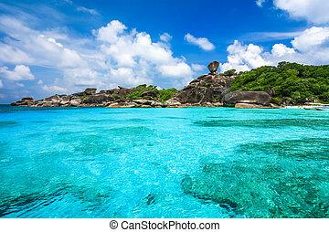 hermoso, similan, isla, claro, tropical, cristal, mar de andaman, mar, tailandia, playa