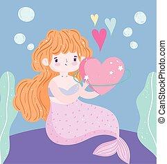 hermoso, sirena, alga, caricatura, burbujas, poco, mar, debajo