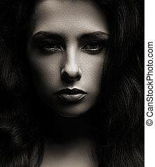 hermoso, sombras, cara mujer, oscuridad, primer plano, plano de fondo, retrato