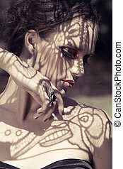 hermoso, sombras, mujer, encaje