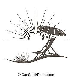 hermoso, sombrilla, ilustración, mar, silla, playa, vista
