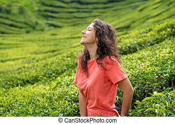 hermoso, té, bushes., valle, posar, morena, niña, verde, entre, medio