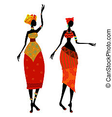 hermoso, tradicional, mujer, disfraz, africano