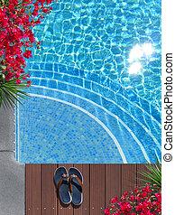 hermoso, vacaciones, escena, poolside