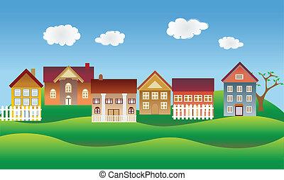 hermoso, vecindad, o, aldea