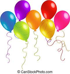 Hermosos globos de cumpleaños con cintas largas