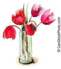 Hermosos tulipanes, flores