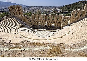 Herodus Atticus teatro en Atenas,
