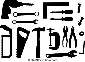 herramienta, conjunto, vector