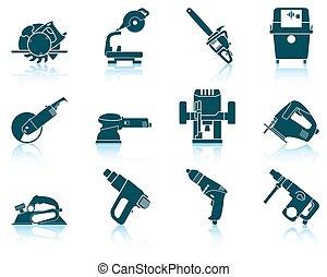 herramienta del trabajo, conjunto, eléctrico, icono
