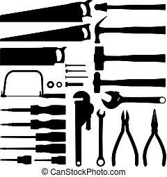 herramienta, mano, colección, silueta