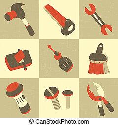 herramienta, mano, iconos