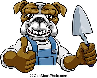 herramienta, paleta, albañil, bulldog, tenencia, constructor