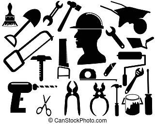 herramienta, siluetas, mano